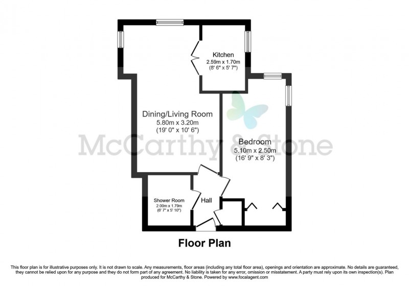 Floorplan for Hughenden Court, Penn Road, Hazlemere, High Wycombe, Buckinghamshire, HP15 7BP