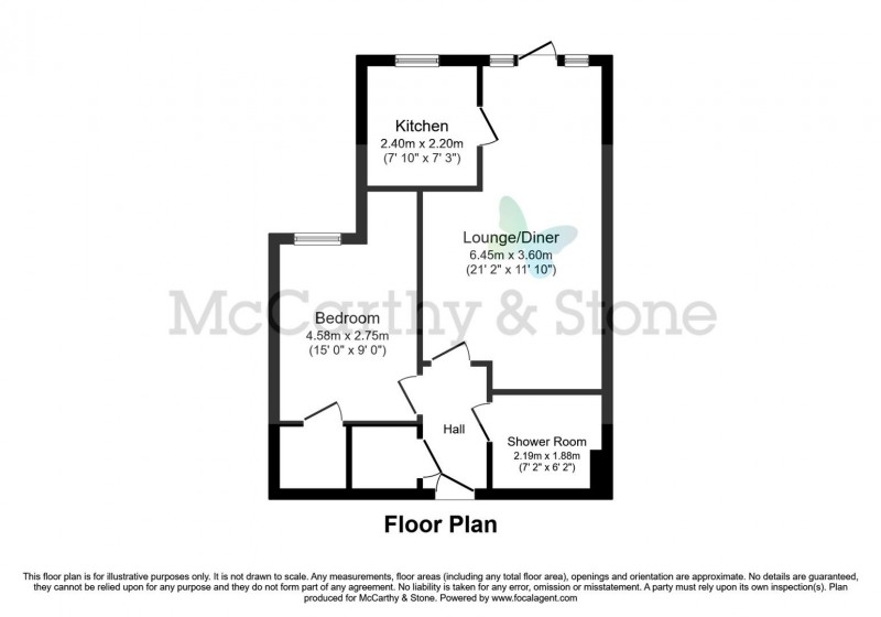 Floorplan for Wykeham Court, Winchester Road, Wickham, Fareham, Hampshire, PO17 5EU