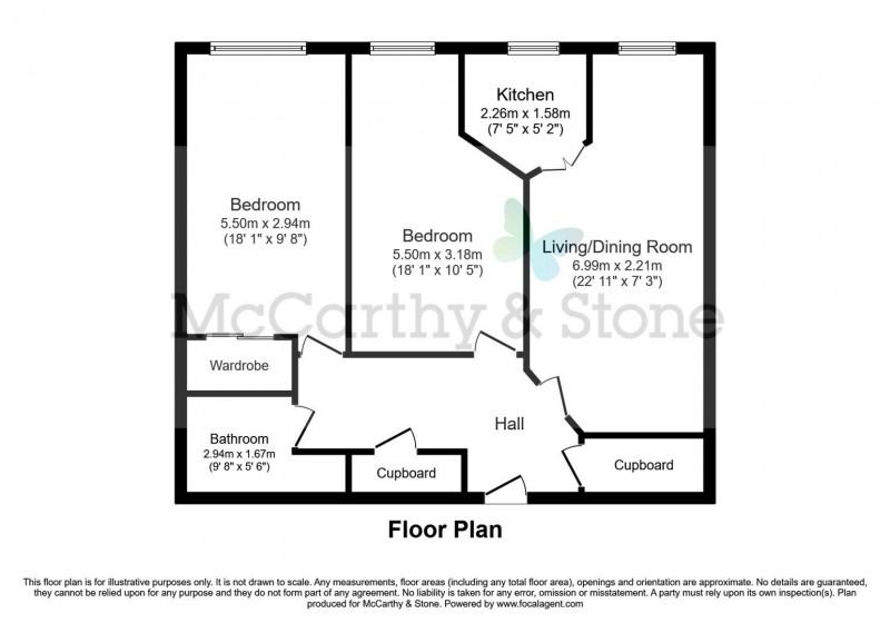 Floorplan for Marina Court, Mount Wise, Newquay, Cornwall, TR7 2EJ