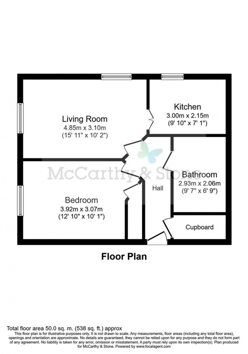 Floorplan for Cartwright Court, Victoria Road, Malvern, Worcestershire, WR14 2GE
