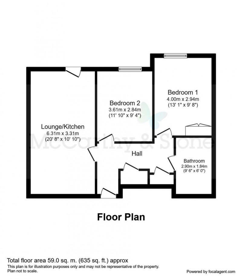 Floorplan for Poppy Court, Jockey Road, Boldmere, Sutton Coldfield, West Midlands, B73 5XF