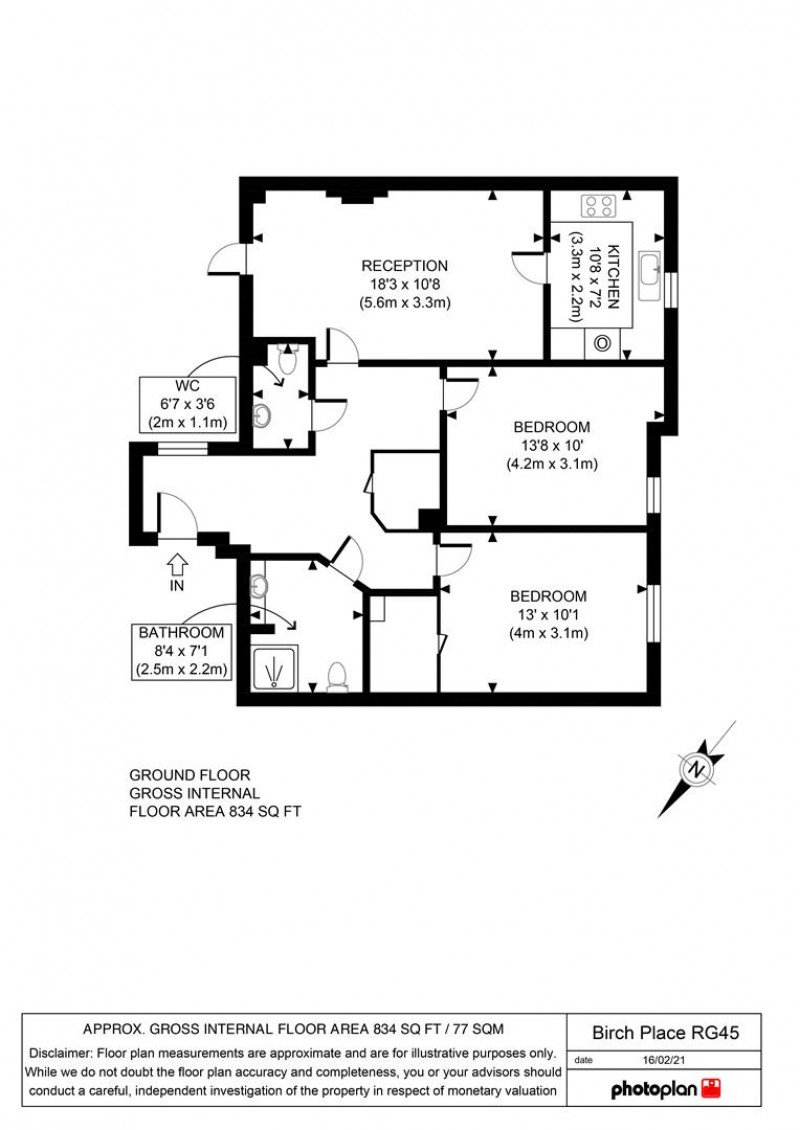 Floorplan for Birch Place, Dukes Ride, Crowthorne