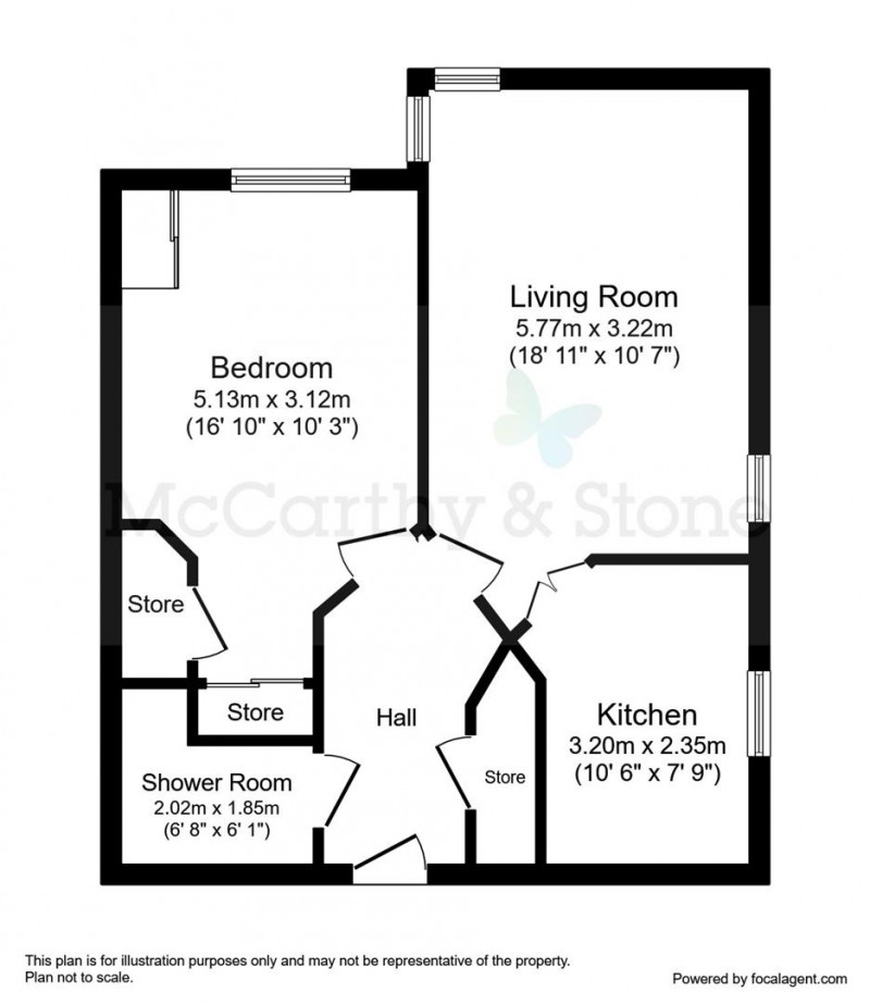 Floorplan for Mandeville Court, Darkes Lane, Potters Bar